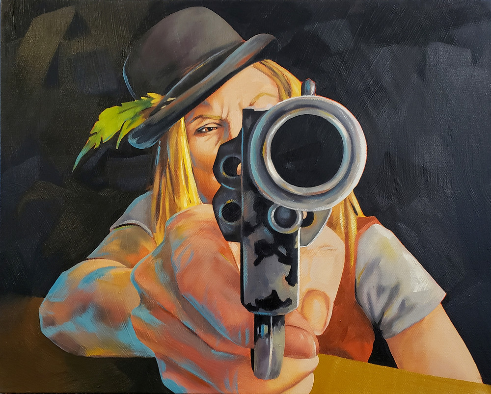 Female gangster in 30s dress with pistol pointed at viewer.