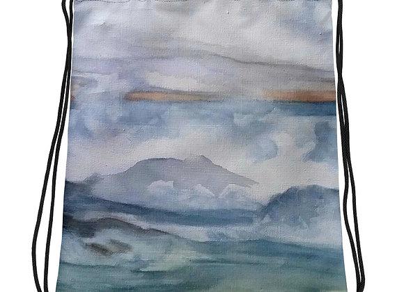 The Pacific Waves Goodbye #3 Drawstring bag