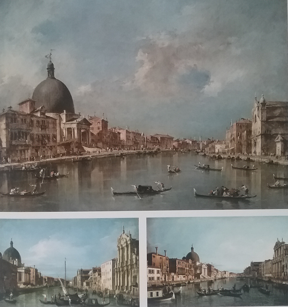 Comparison of Guardi and C'analetto's paintings of same subjects to show Guardi's loose strokes.