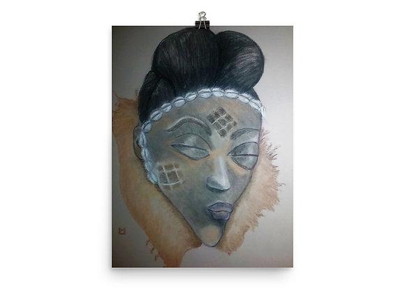 Punu Maiden Mask - Queen Digital Print