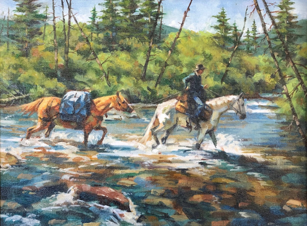 Man with pack horse crossing a high mountain stream in autumn.