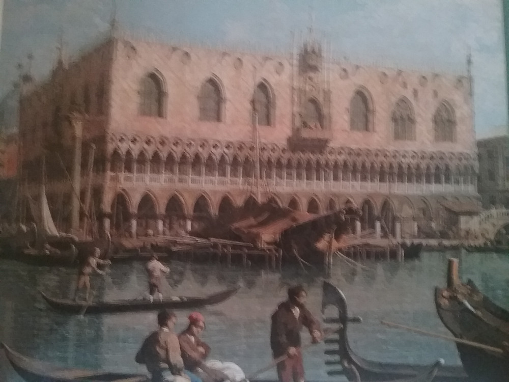 View of Doges Palace with gondolas in front by Canaletto, c. 1740.