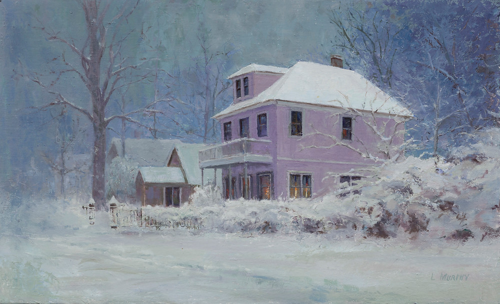 Classic two story house in winter lavenders and blues