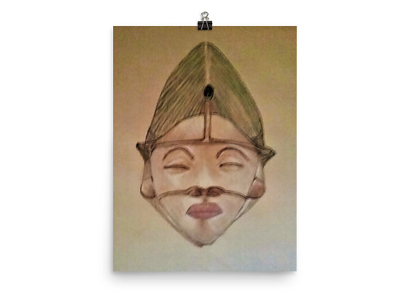 Punu Maiden Mask Digital Print