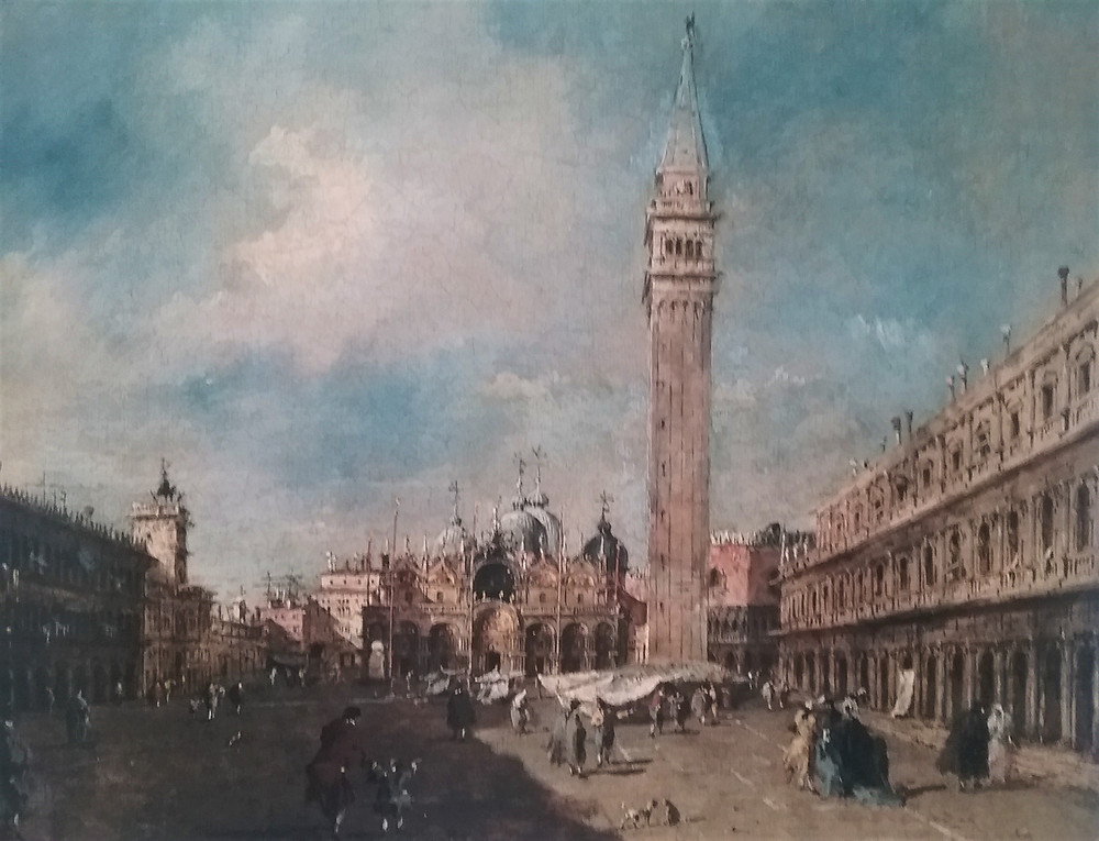 Painting of St. Mark's Square in Venice by Francesco Guardi with people and small market, 1785.