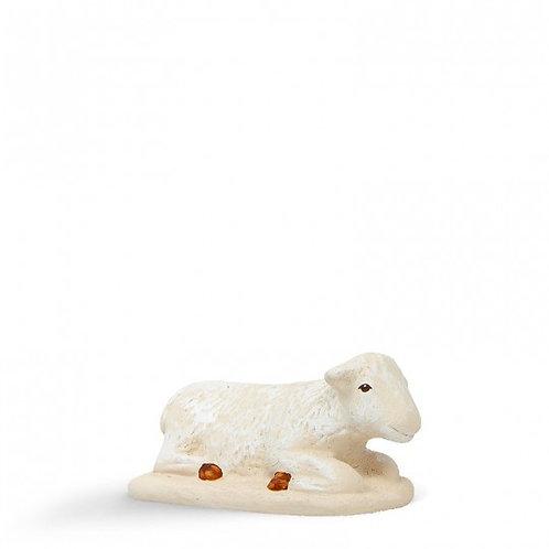 Mouton couché Blanc 12cm