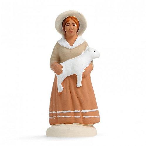 Bergère à l'agneau Blanc 7cm