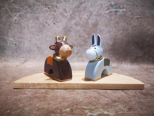 Âne et Boeuf Bois doré
