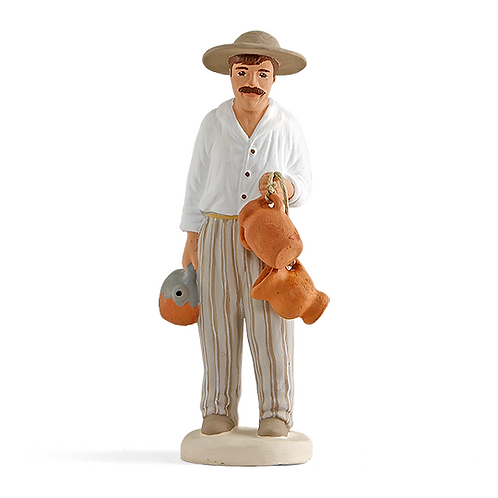 Homme aux Cruches Blanc 12cm