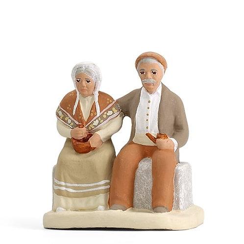 Couple sur le banc Blanc 7cm