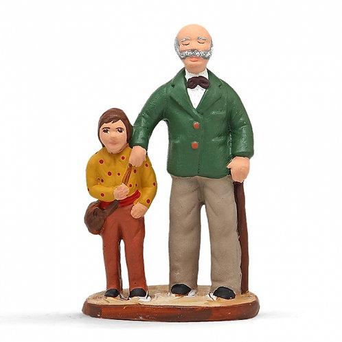 Aveugle et son fils Couleur 7cm