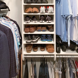 Shoe Shelves above hanging section