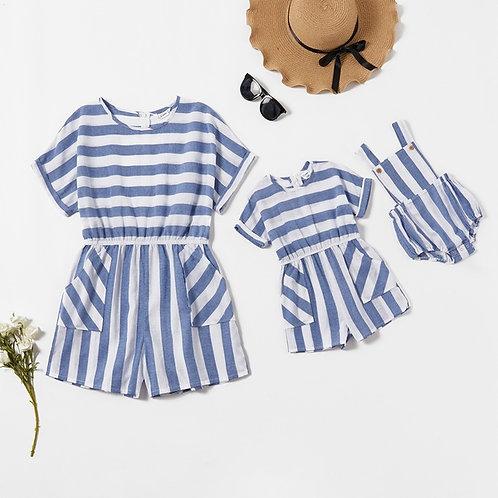 Striped Short Sleeve Romper *** Baby Girl ***