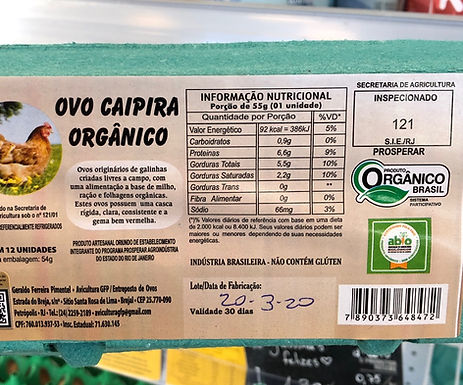 Ovos Orgânicos Dúzia