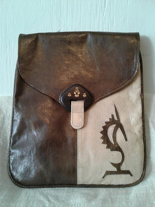 Leather Messenger Bag w/Insignia: Brown