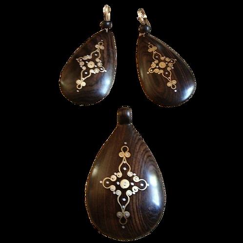 Recycled Ebony Earring / Necklace set: Teardrop