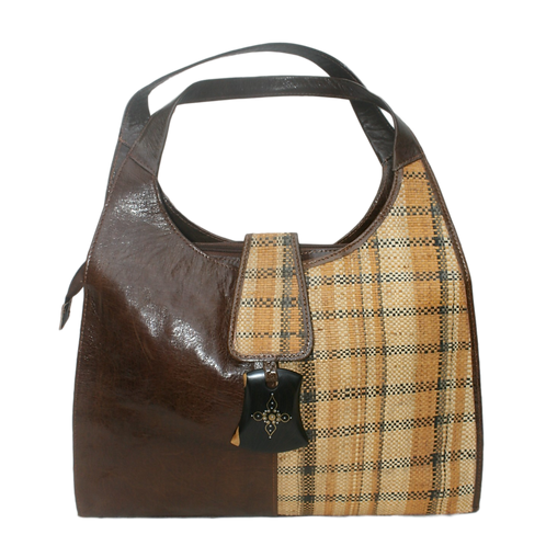 Safi 2-Tone Woven Leather Tote: Brown Plaid