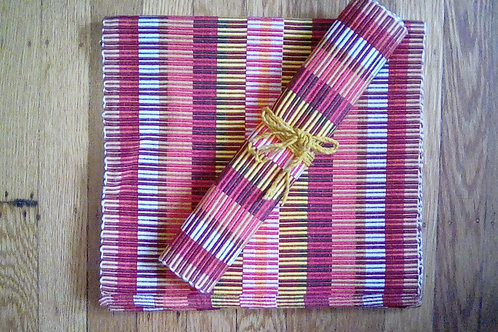 7pc hand woven table mat and runner set