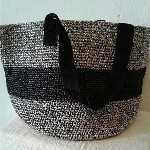 Large Soko Beach Bag: Black Stripe