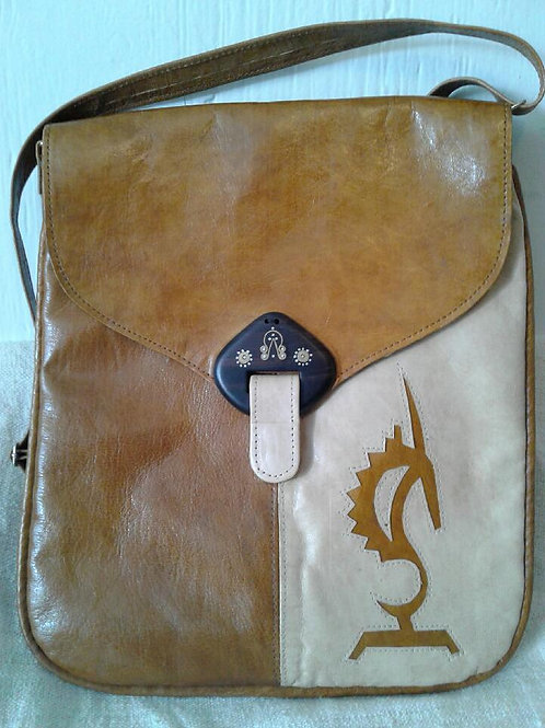 Leather Messenger Bag w/Insignia: Camel