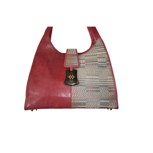 Safi 2-Tone Woven Leather Tote: Pink Pastel Plaid