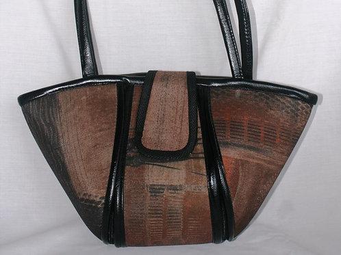Woven Love Boat Bag:Brown Mosaic