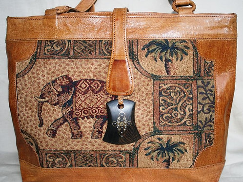 Safi Woven Leather Tote w/ Snap Flap: Elephants
