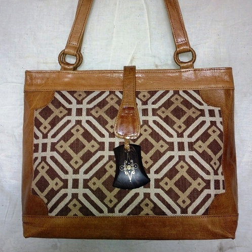 Safi Woven Leather Tote w/ Snap Flap