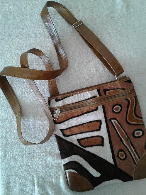 Leather & Mudcloth Shoulder Pouch