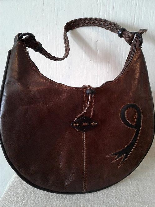 2-Tone Brown Leather Banana Bag w/loop closure