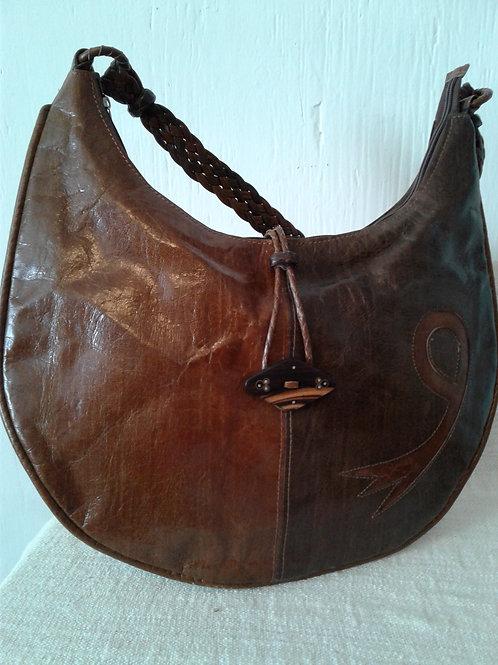 2-Tone Brown Leather Banana Bag w/loop