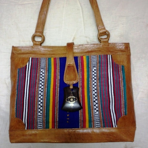 Safi Woven Leather Tote w/ Snap Flap: Stripes