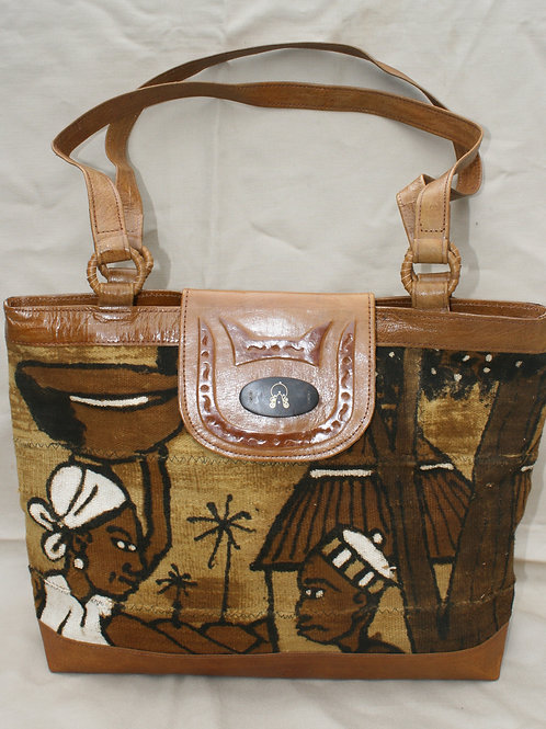 Mudcloth / Leather Tote w/Snap Flap