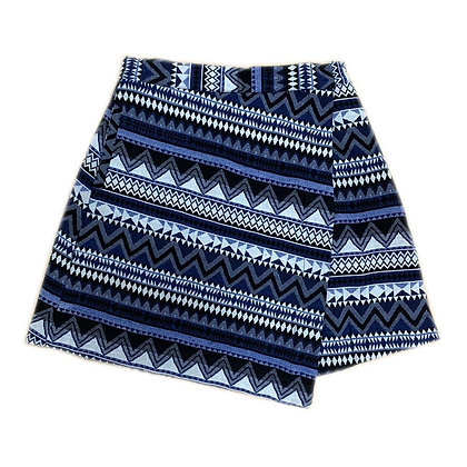 Aztec Print Wrap Mini Skirt