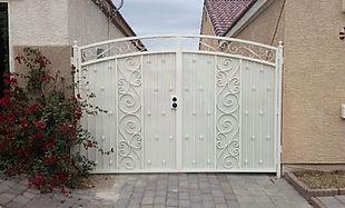 custom iron gate, drive gate, side yard gate, double gate