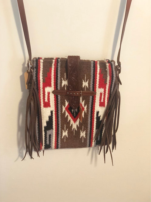 Woven Crossbody with Brown Fringe