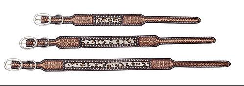 Hair on Leopard Tooled Dog Collars