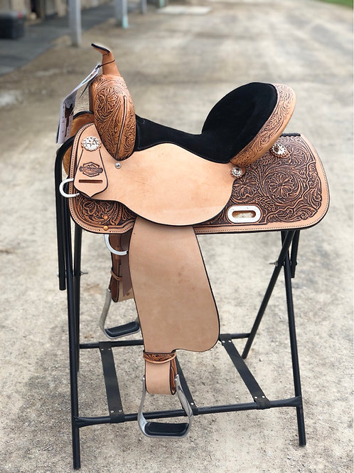"14.5"" Custom Mansfield High Horse Circle Y Barrel Saddle"