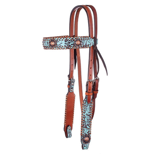 Circle Y Exotic Turquoise Metallic Browband Headstall