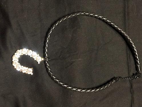 Black Horseshoe Bling Necklace