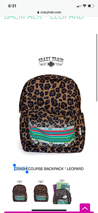 Crazy Train Leopard Backpack