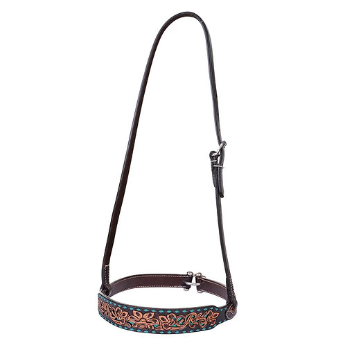 Turquoise Inlaid & Buckstitch Floral Noseband