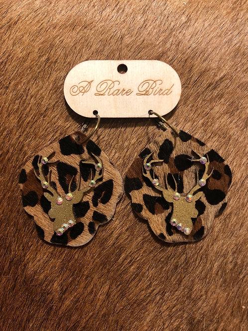 Cheetah Rhinestone Deer Earring