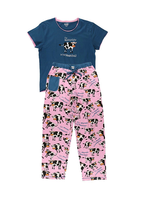 LazyOne I'm Moody in the Morning! Women's Fitted PJ Set