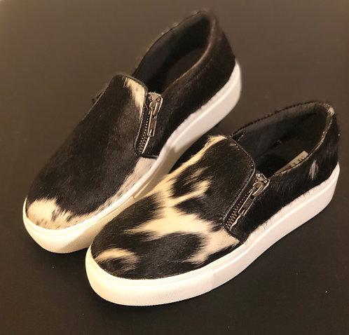 Black/White Cowhide Sneakers