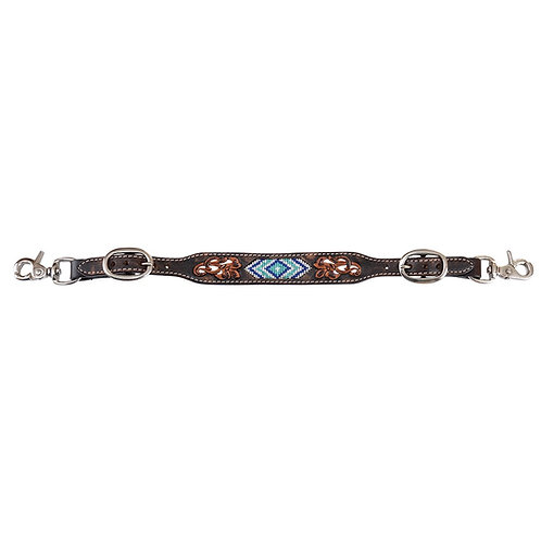 Circle Y Distressed Beaded Blue Diamond Inlay Wither Strap