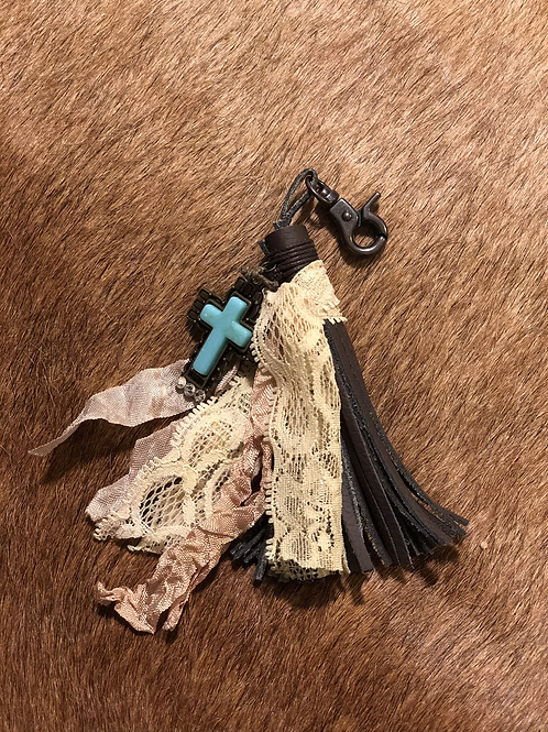Leather & Lace Keychain