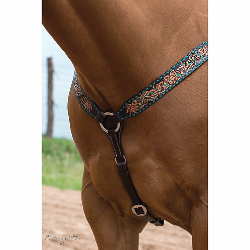 Circle Y Turquoise Inlay & Buckstitch Breastcollar