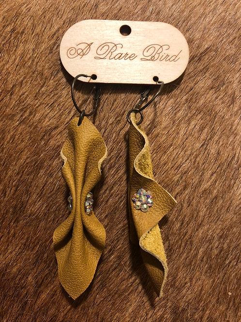 Leather Mustard Rhinestone Earrings