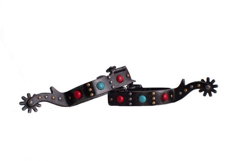 Antique Gray Steel Spurs w/ Red & Teal Marble Studs